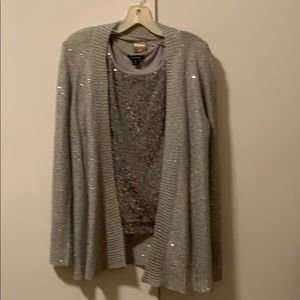 Sweaters - Sparkly silver sweater and sequined tank  bundle